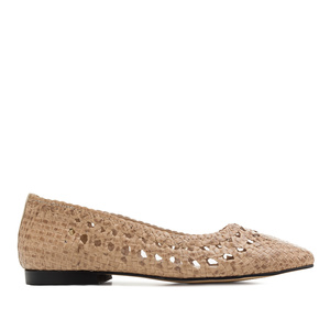 Braided Ballet Flats in Beige Leather