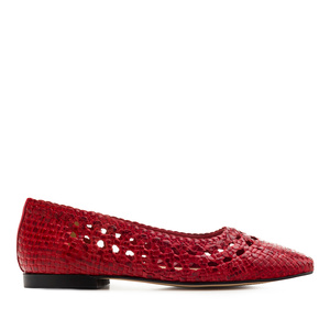 Braided Ballet Flats in Red Leather