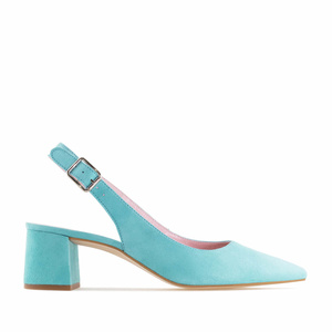 Slingback shoes in Turquoise Suede Leather