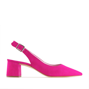 Slingback shoes in Fuchsia Suede Leather