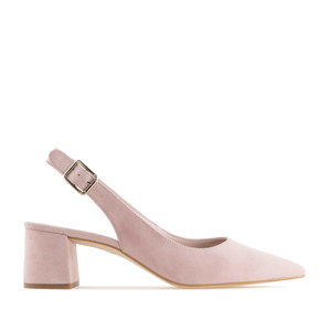 Slingback shoes in Nude Suede Leather