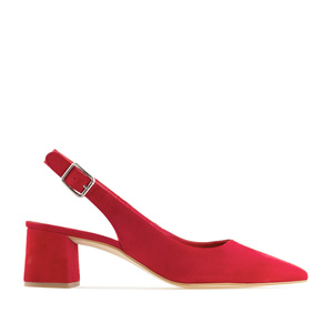 Slingback shoes in Red Suede Leather