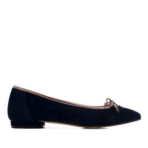 Bow Ballet Flats in Navy Suede Leather
