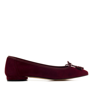 Bow Ballet Flats in Burgundy Suede Leather