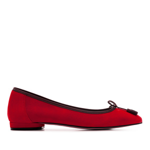 Bow Ballet Flats in Red Suede Leather