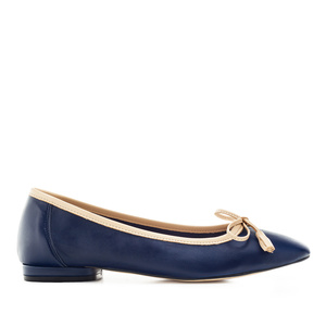 Ballerinas aus marineblauem Leder mit Schleife -MADE in SPAIN-