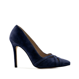 Crossover Stilettos in Blue Suede Leather