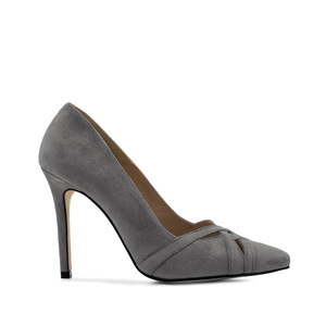 Crossover Stilettos in Grey Suede Leather