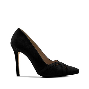 Crossover Stilettos in Black Suede Leather