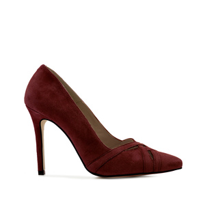 Crossover Stilettos in Burgundy Suede Leather