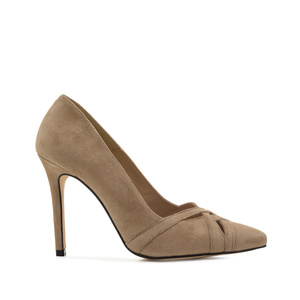 Crossover Stilettos in Taupe Suede Leather