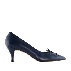 Fine Tip Navy Leather Heeled Shoes