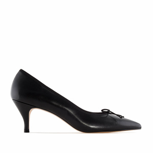 Fine Tip Black Leather Heeled Shoes
