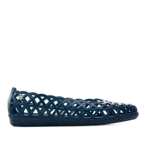 Water Rhombus-Shaped Die-Cut Ballet Flats in Navy