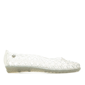 Water Rhombus-Shaped Die-Cut Ballet Flats in Silver