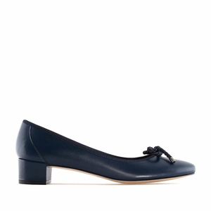 Reef Knot Navy Leather Ballet Flats