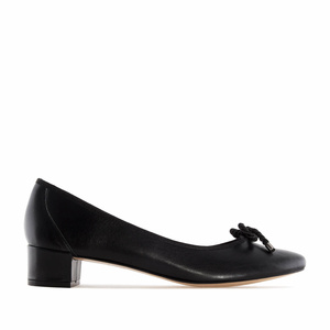Reef Knot Black Leather Ballet Flats