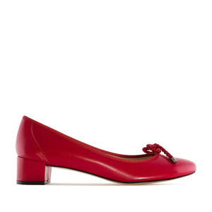 Reef Knot Red Leather Ballet Flats