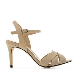 Kožené semišové sandále, páskové. Béžové.