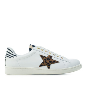 Trainers in White Leather with Animal Print detail