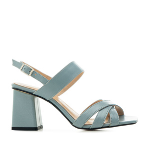 Block Sandals in Sky Blue Leather