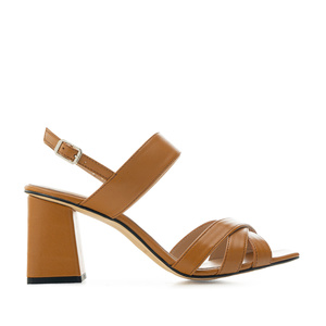 Block Sandals in Camel Leather