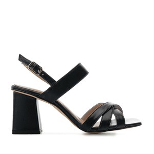 Block Sandals in Black Leather