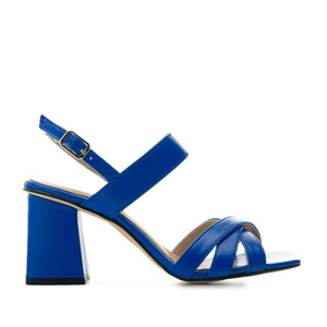 Block Sandals in Blue Leather