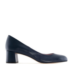 Navy Leather Heeled Shoes