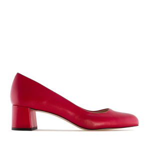 Red Leather Heeled Shoes