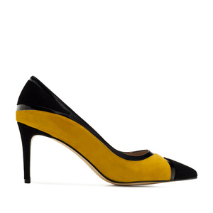 Combi Stilettos in Mustard Suede Leather
