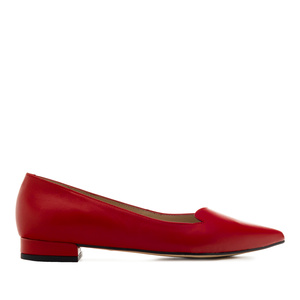 Fine Tip Ballet Flats in Red Leather