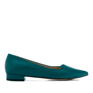 Fine Tip Ballet Flats in Deep Blue Leather