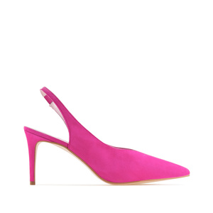 Fuchsia Suede Leather Slingback Stilettos