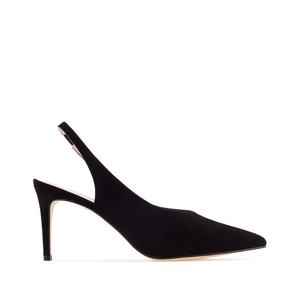 Black Suede Leather Slingback Stilettos