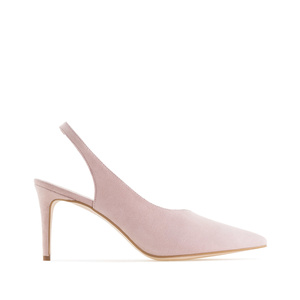 Nude Suede Leather Slingback Stilettos