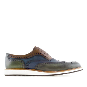 Dreifarbige Herrenschuhe im Oxfordstil aus Leder - MADE in SPAIN -