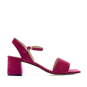Block-heeled Sandals in Raspberry Suede Leather