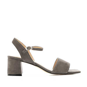 Block-heeled Sandals in Grey Suede Leather