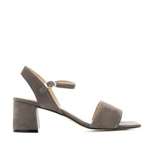 Sandales talons larges en Daim Gris