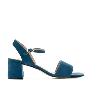 Block-heeled Sandals in Blue Suede Leather
