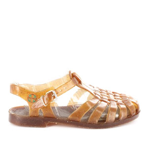 Honey brown plastic sandals. Ideal for water.