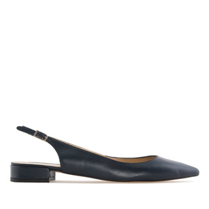 Fine Toe Slingback Ballet Flats in Navy Leather