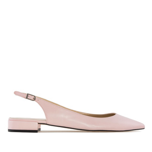 Fine Toe Slingback Ballet Flats in Rose Leather