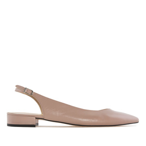 Fine Toe Slingback Ballet Flats in Sienna Leather