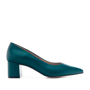 Heeled Shoes in Deep Blue Leather