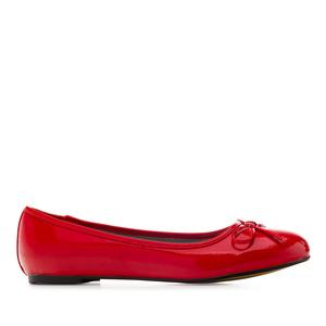 Klassische Ballerinas mit Schleife. Lack Rot.