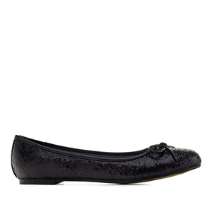 Classic Big Flat Ballerinas in Black Glitter
