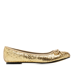 Classic Big Flat Ballerinas in Golden Glitter