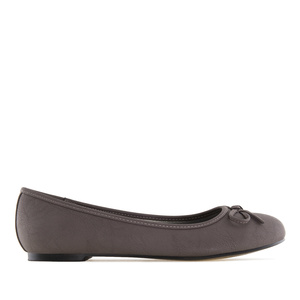 Grey faux-pull-leather Ballerinas with bow.